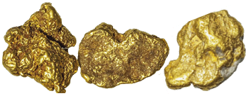 three gold nuggets